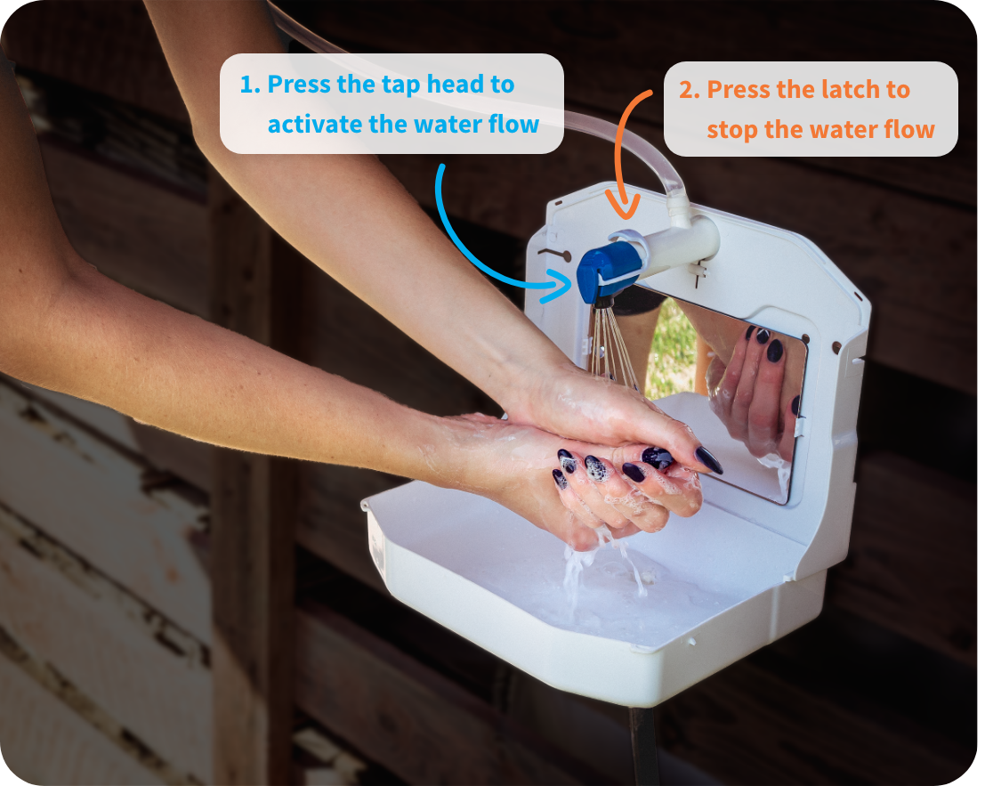 water saving tap - press the tap to activate, press the latch to stop